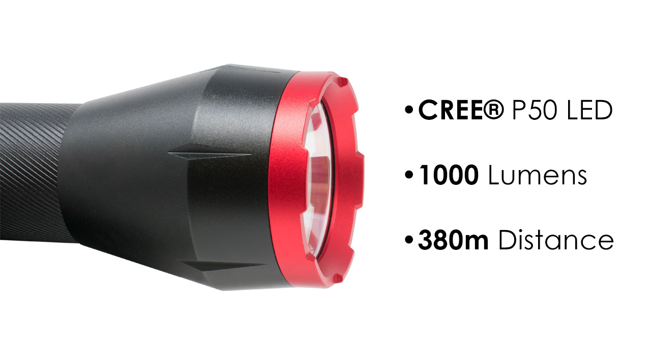 The BB-1K 1000 Lumen Ultra Bright CREE P50 LED Tactical Flashlight utilizes CREE® P50 LEDs, packs 1000 lumens, and has a 350 meter throw distance