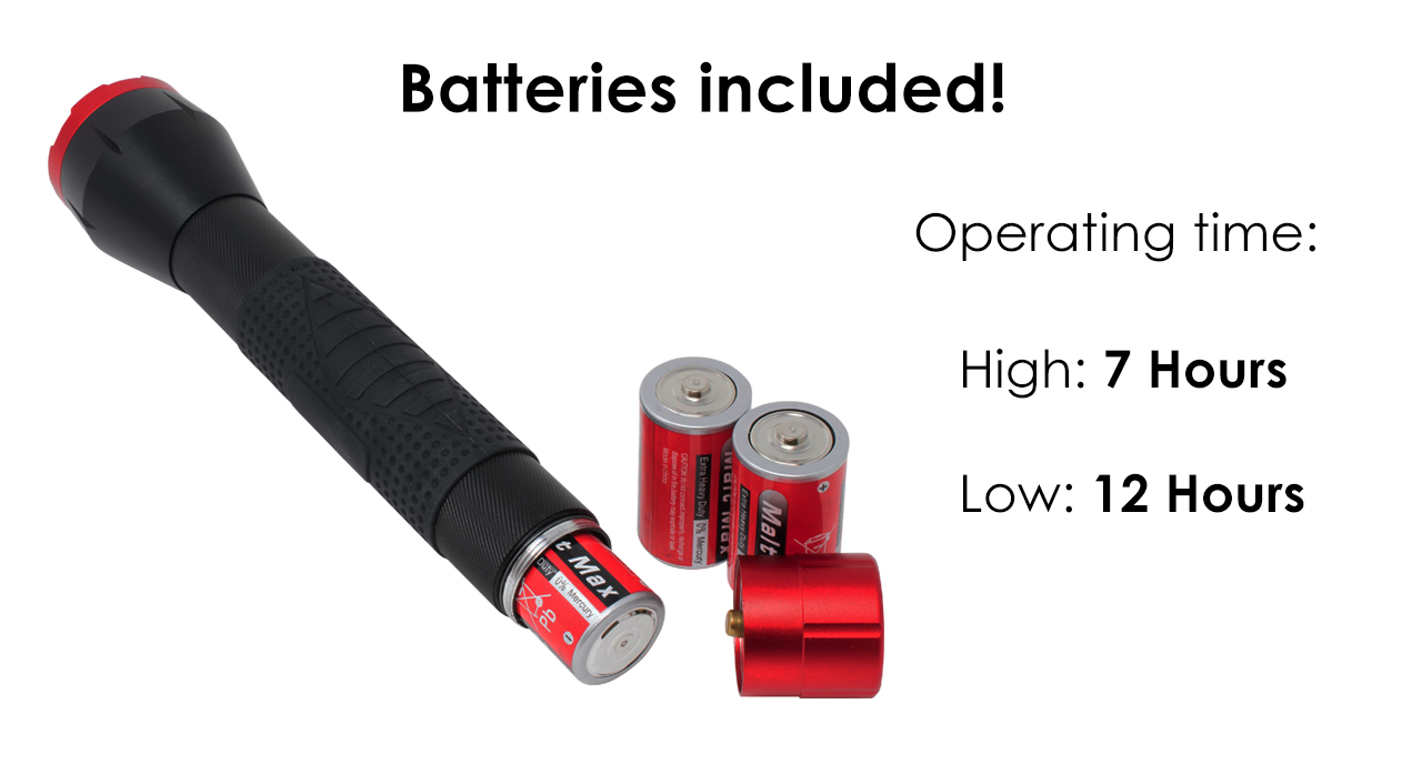 The BB-1K 1000 lumen LED flashlight comes with batteries included and can operate continuously for up to 12 hours