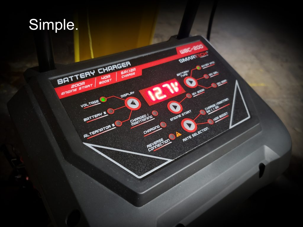 Smartech 200 Wheel Charger that is easy to read.