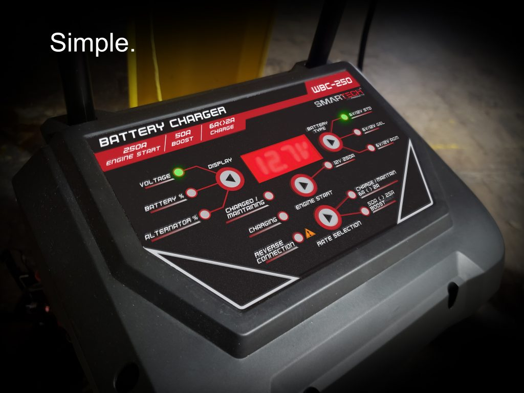 Smartech 250 Wheel Charger that is easy to read.