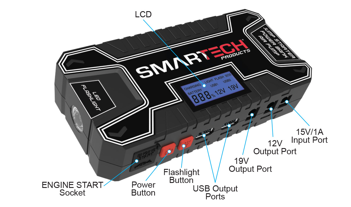 Smartech Power Kit TECH-5000P Vehicle Jump Starter and Power Bank with  Accessories + Air Compressor + Carrying Case