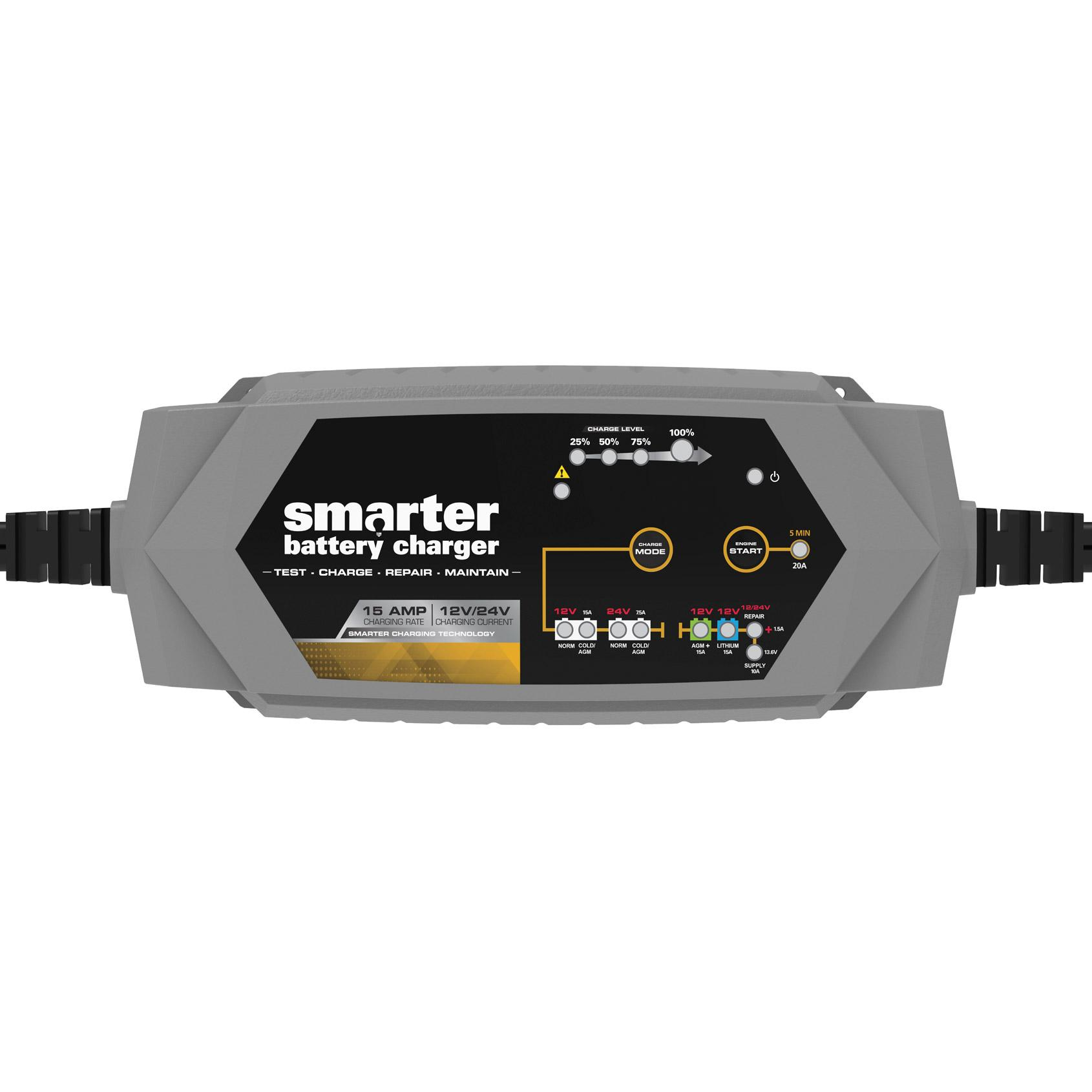 Smartech 6/12V 15A Smart Automotive Battery Charger, Maintainer, Repairer,  Tester with Advanced Desulphation Process