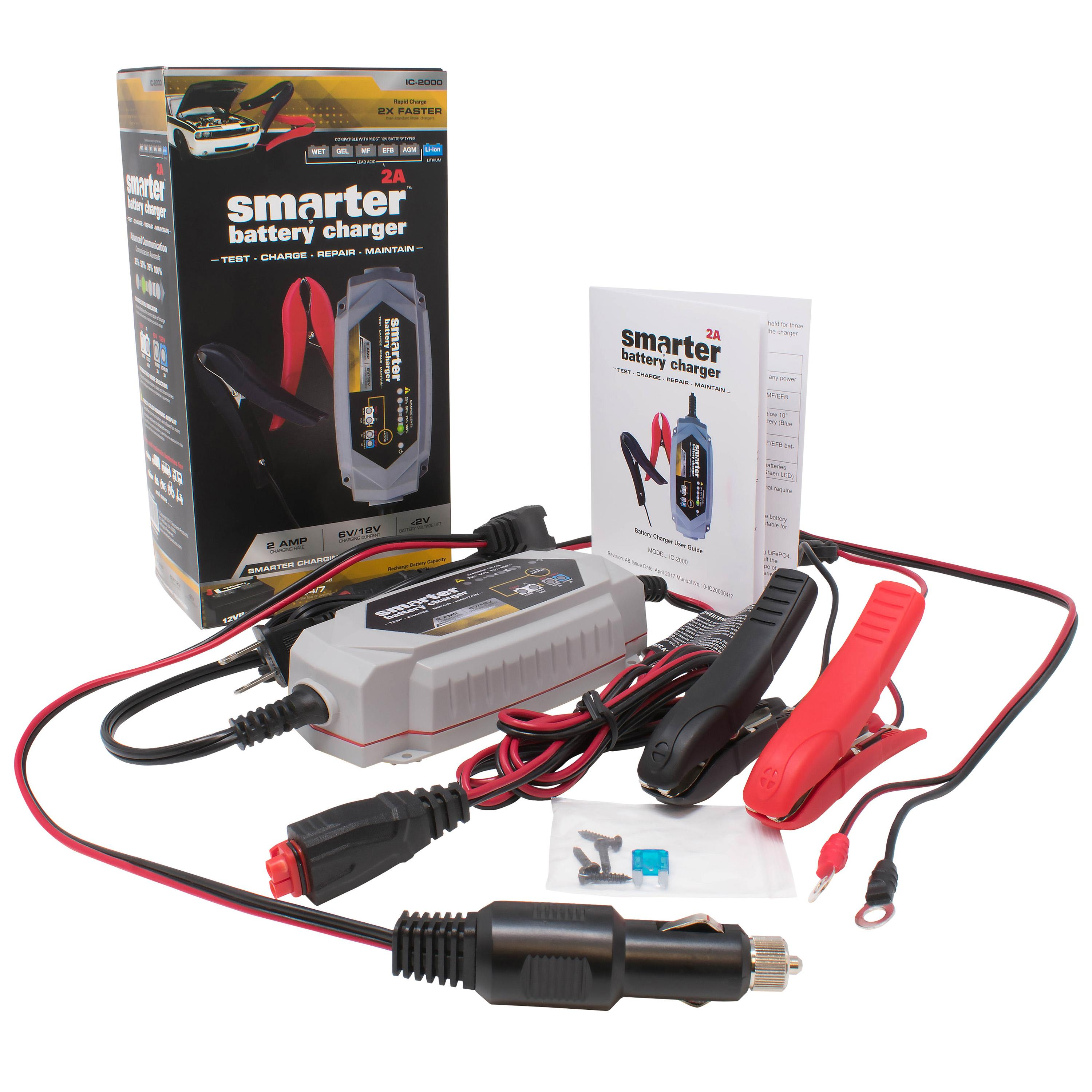 Smartech Ic 2000 2a 6 12v Automotive Battery Charger New 6v Auto Electrical Circuit Tester Car Garage Equipment Light Striaton Horizontal W Accessories With Ic2000 Img5